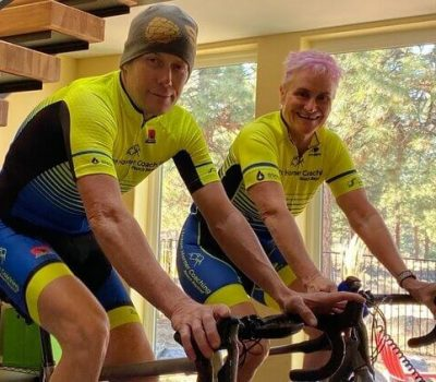 cycling coaches Chris Horner and Anne Linton indoor cycling training session