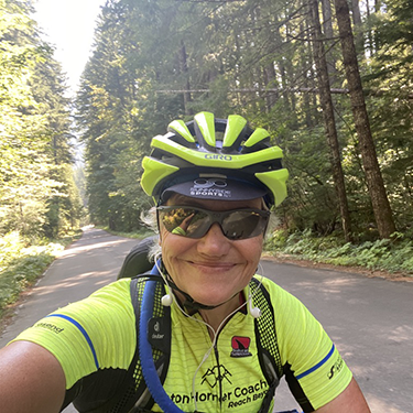 athletic coach Anne on a birthday ride endurance training
